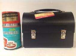 1950/60's GENERIC BLACK METAL DOME LUNCH BOX WITH ECONOMY TH