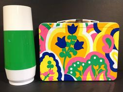 1973 OKAY INDUSTRIES MOD FLORAL METAL LUNCH BOX & GENERIC TH