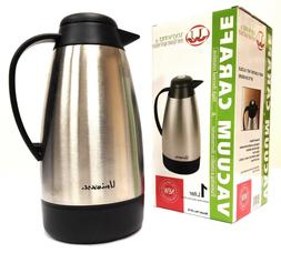 Coffee/Tea Carafe Vacuum Thermos Stainless Steel with Temper