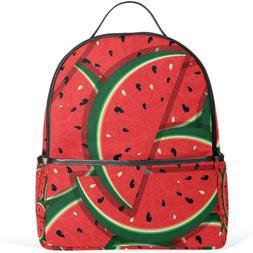 JSTEL Fresh Slices Of Red Watermelon School Backpacks for Bo