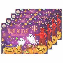 Wamika Halloween Placemats Devil Ghost Pumpkins Table Mats