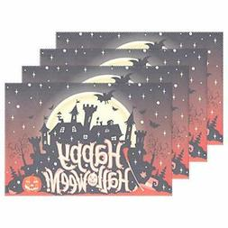Wamika Halloween Placemats Set of 6, Haunted House Pumpkins