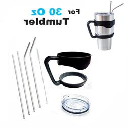 Handle+Spill proof Lid+ 4 Straw+Brush For 30 Oz YETI Tumbler