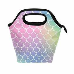 ALAZA Insulated Lunch Tote Bag, Mermaid Scale Rainbow Color