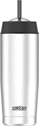 Thermos 16 Ounce Cold Cup with Straw, Stainless Steel