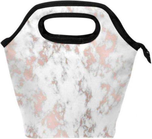 marble rose gold texture lunch box tote