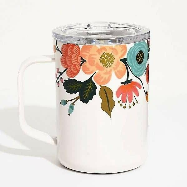 mug thermos white lively floral 16 oz
