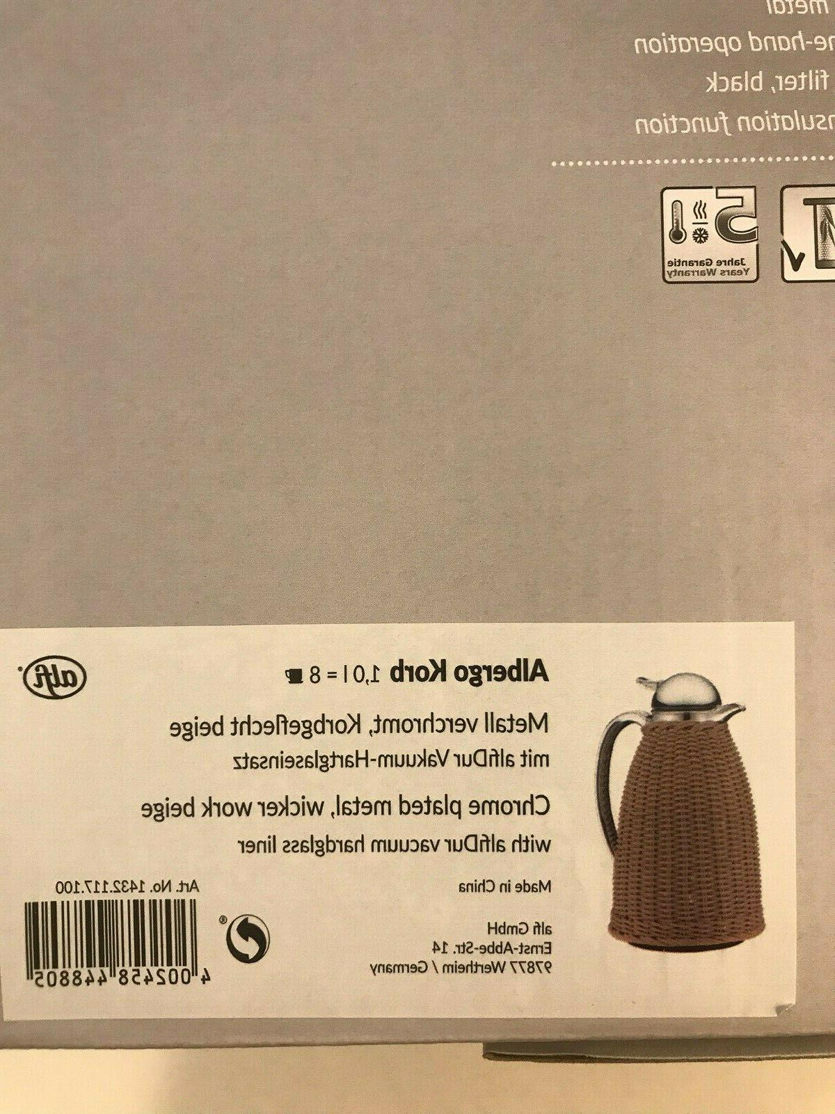 NEW! Beige Wicker Carafe, 8-Cup Shipping