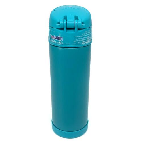 THERMOS FUNtainer Water Bottle 16oz. Steel Spout Aqua