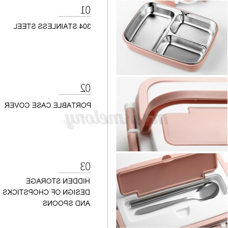 Stainless Lunch Box Food Container Handle Kids Adult