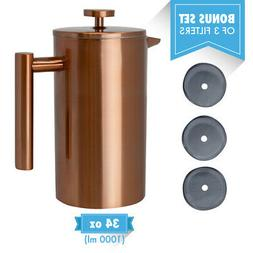 MIRA Stainless Steel Double Walled Tea & Coffee French Press