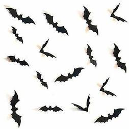 MOOCOM Halloween Bat Wall Decals Decorations12Pcs Black,Hall