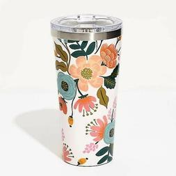 Tumbler, thermos - White Lively Floral ,16 oz.  NEW, By Cork